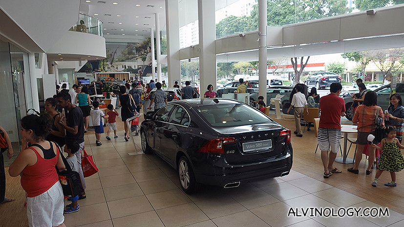 The crowd at the Volvo showroom