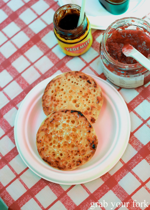 Dr Marty's toasted crumpets at Abbotsford Convent Slow Food Farmers Market