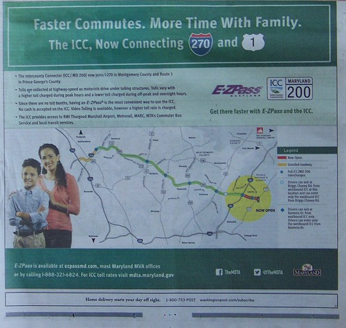 Ad for the Intercounty Connector Toll system, Maryland, from the Washington Post, November 2014