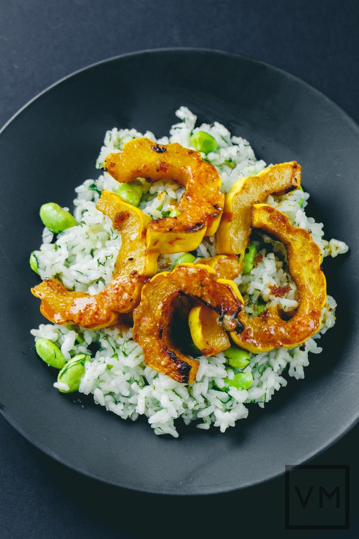 Miso-Harissa Delicata and Edamame Dill Rice | Vegan Miam