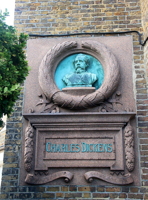 Photo of Charles Dickens stone plaque