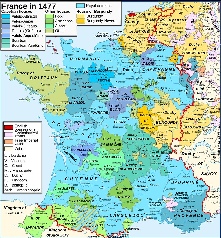 Map of France in 1477