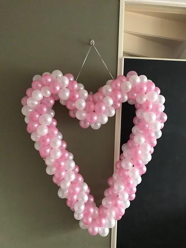 Ballonnenhart Roze Wit