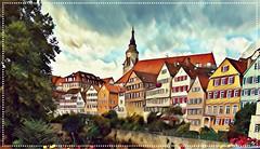 "Old Town Tübingen - Twingia - South side called ""Neckarfront"" -  St. George's Collegiate Church aka Stiftskirche (since 1470)"