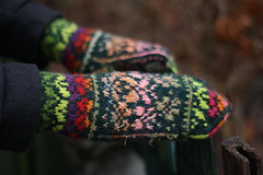 Original, hand knitted, warm, woolen Mittens