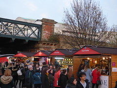 Southbank Centre's Winter Festival - Christmas market - wooden huts - Hungerford Bridge / Golden Jubilee Bridges