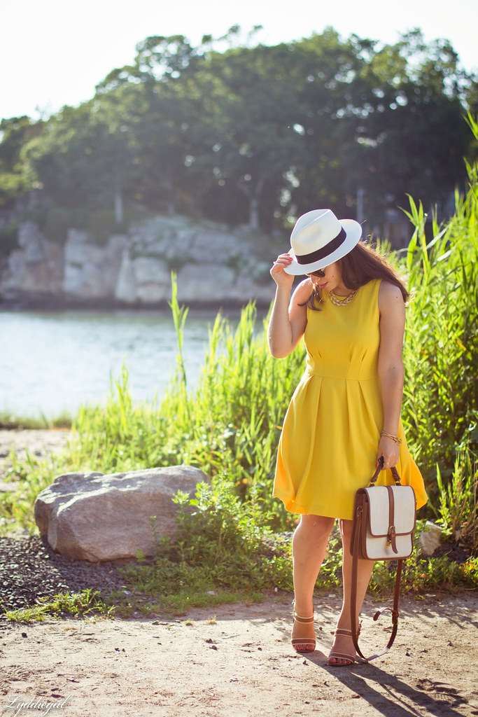 yellow dress, panama hat, summer outfit-5.jpg