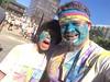 Dad Daughter Faces Covered Blue Powder 2015 Color Run Grand Rapids 5K Run