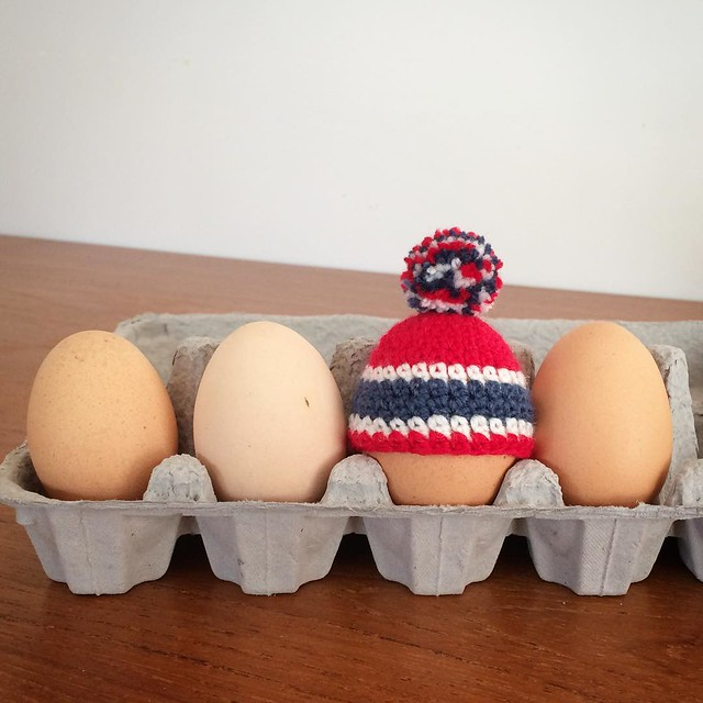 And if you prefer your egg to come more hockey flavoured I can do that too. #egg #eggcosy #egghats #montrealcanadiens