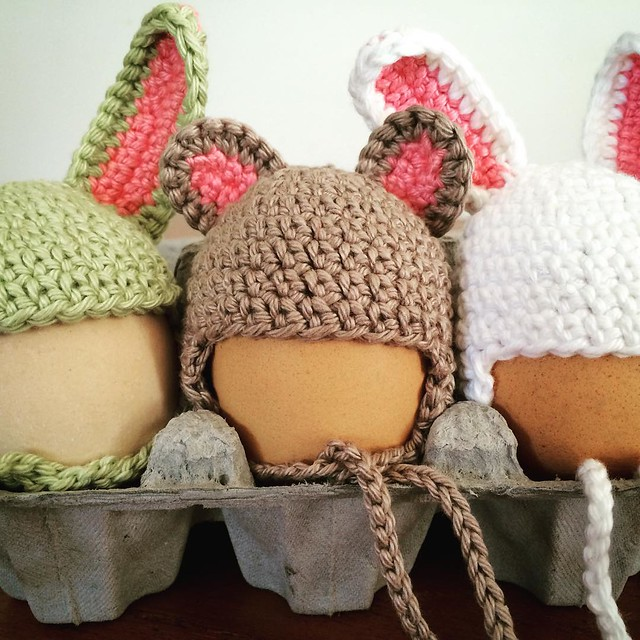 At the risk of offending the bunnies the mouse is my favourite. #egghats #eggcosy #crochet
