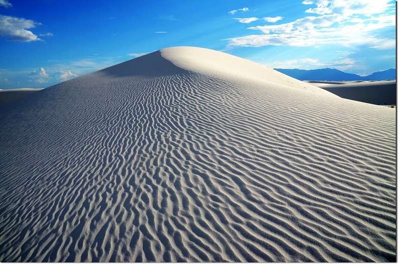 View of white sand dune with ripples in White Sands National Monument 2