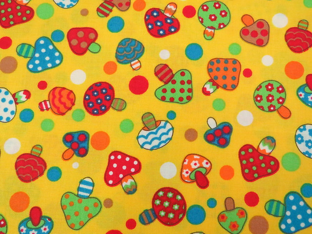 2617B -- Lovely Retro Mushroom and Dot Fabric in Yellow