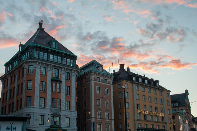 Sunset over Hotel Reisen, Stockholm
