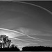 Contrails over the guided busway, Tyldesley by Pitheadgear