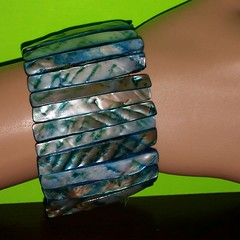 Blue green Mother Of Pearl Wide stretch bracelet @smadison19 #blue #green #motherofpearl #bracelet #stretchbracelets http://www.ebay.com/usr/madis-sand