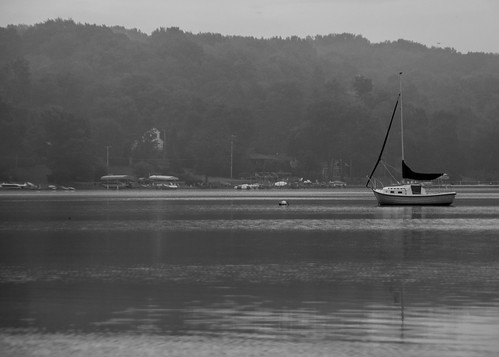morning trees houses summer vacation lake ny newyork water sailboat sunrise boats boat nikon august anchor sail handheld lone lonely parked nikkor amateur placid anchored 2015 18200mm d90 lakechautauqua vacationspot chautauquacountyny