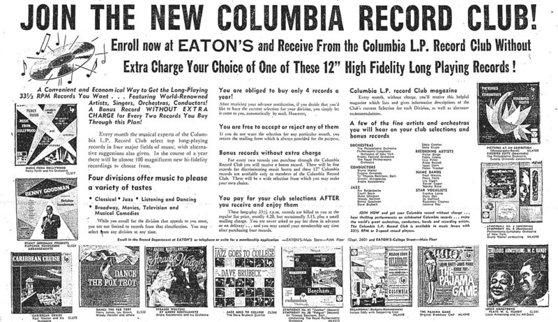 Vintage Ad: Join the New Columbia Record Club