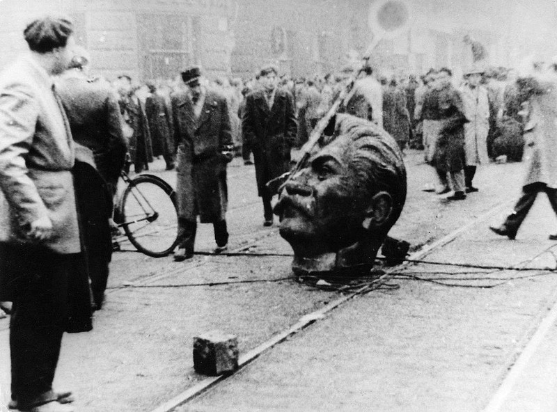 The decapitated head of a statue of Joseph Stalin in first day of the Hungarian Revolution of 1956