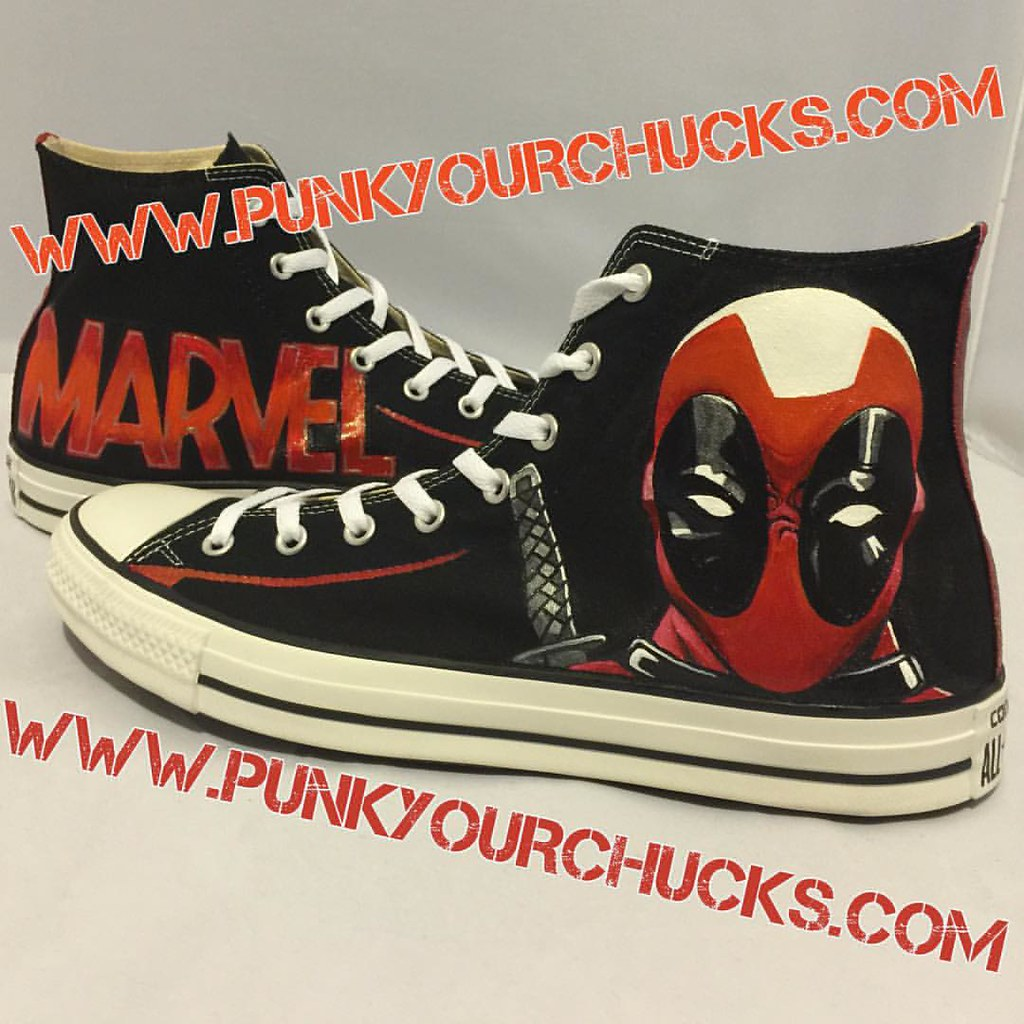 9bf076c60455 Custom Deadpool Chucks by MAG from Punk Your Chucks!!!