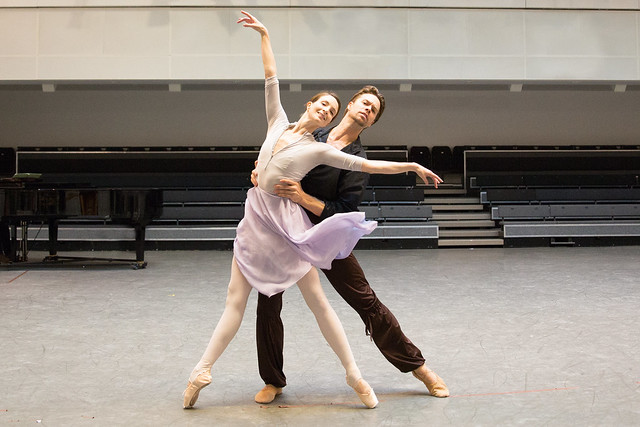 Lauren Cuthbertson and Matthew Golding in rehearsal for Tchaikovsky Pas de deux, The Royal Ballet © 2015 ROH. Photograph by Andrej Uspenski