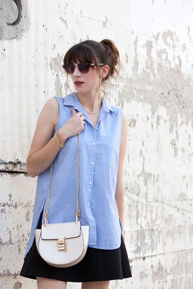 Shein Crossbody Bag, Madewell Button Down Shirt