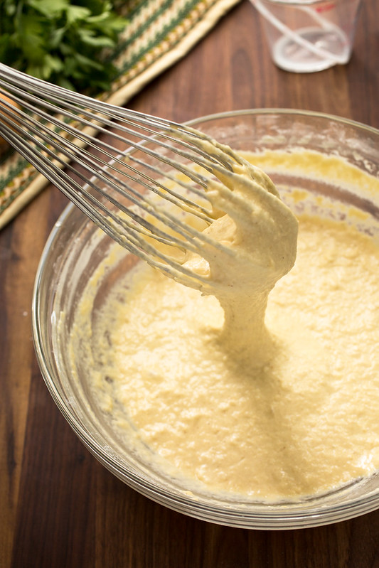 spaetzle batter in bowl with whisk