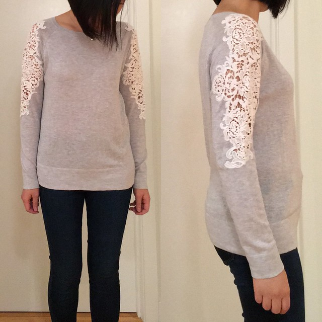 LOFT Lace Paneled Sweater, size S regular