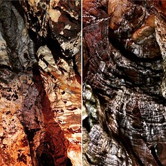 Two scenes from inside the spectacular Blue John Cavern in Derbyshire's Peak District.