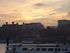 River Thames from the South Bank in London - Westminster sunset