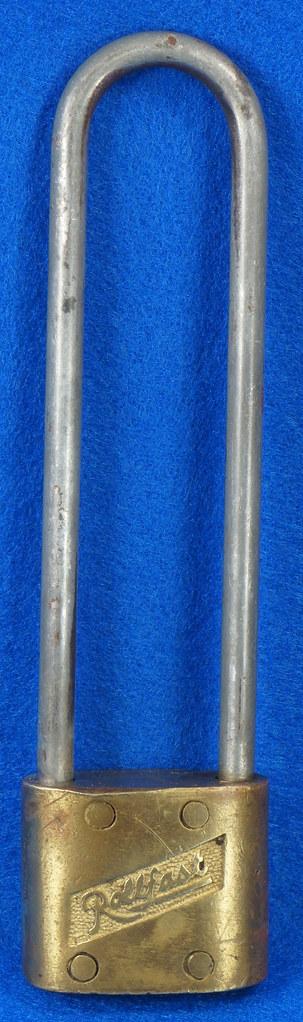 RD14743 Vintage Rollfast Bicycle Bike Lock Brass Body Long Hasp with Key Padlock DSC06256