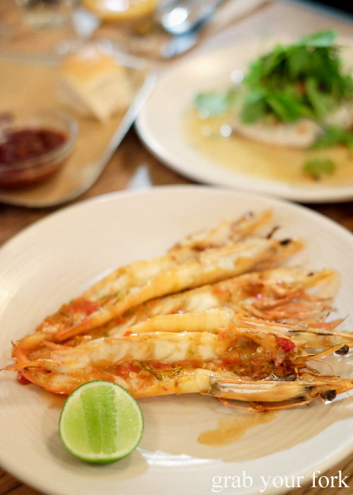 Jumbo king prawns with lemongrass and coconut at Papi Chulo, Manly