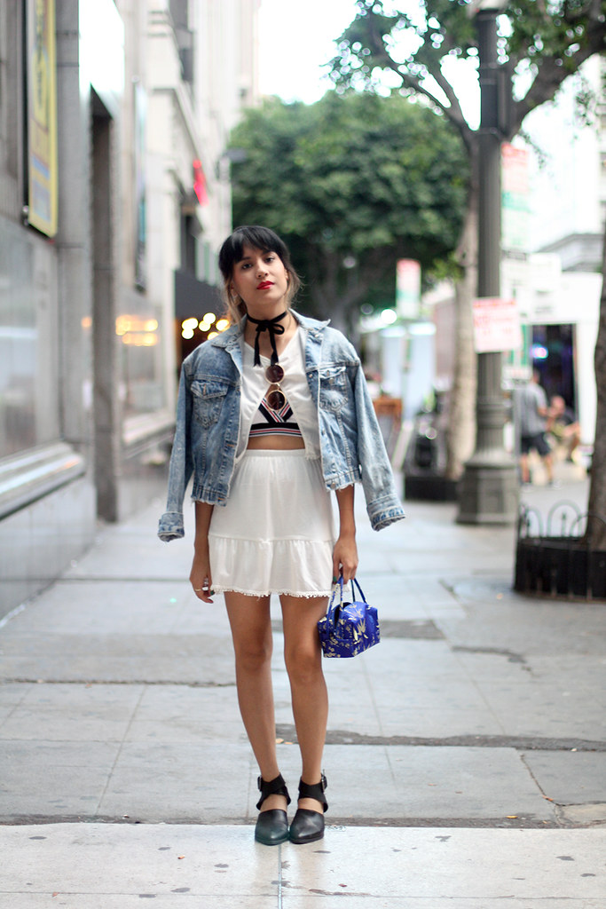 Siren London matching crop top and skirt, vintage denim jacket, Zara strap heels, velvet bow choker