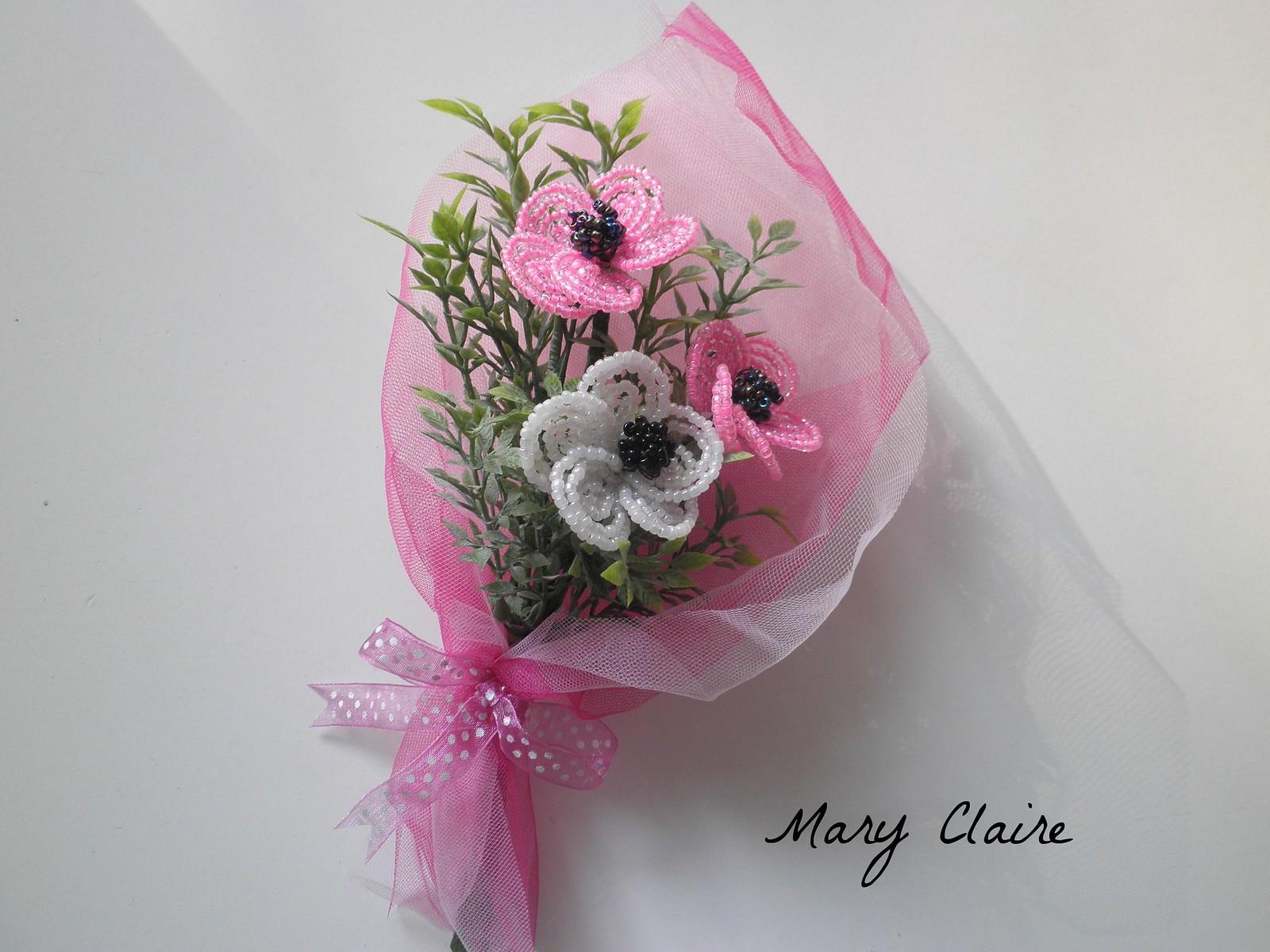 mazzolino rosa e bianco