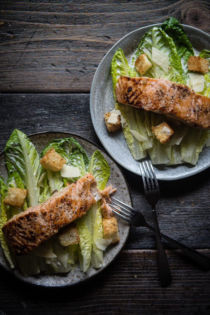 frankies spuntino caesar with salmon | two red bowls