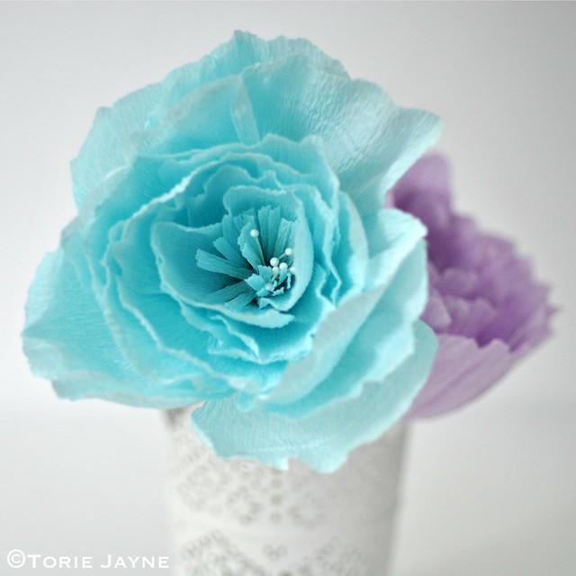 Light blue crepe paper peony