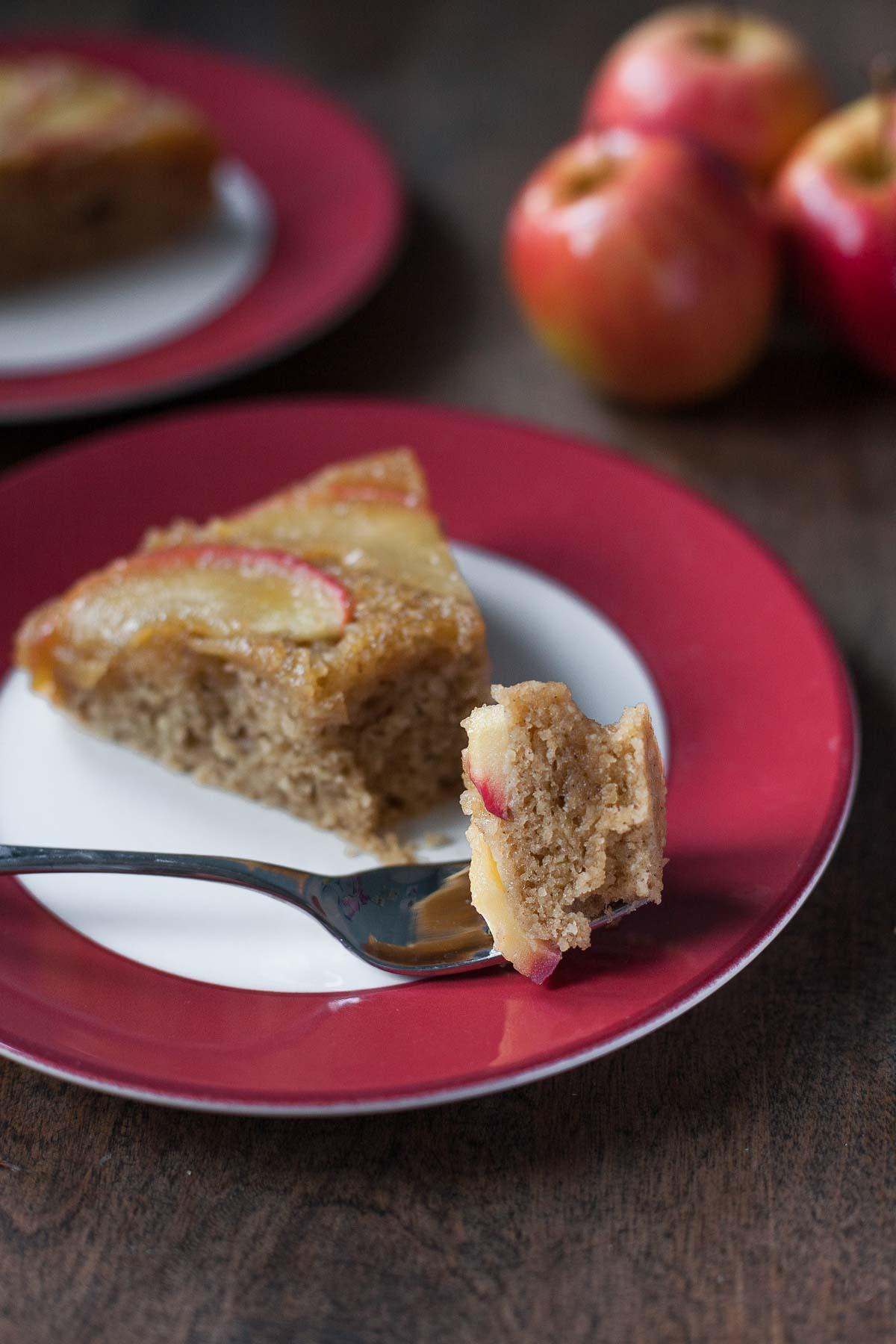 Apple Honey Upside-Down Cake (Dairy free, Paleo) | acalculatedwhisk.com
