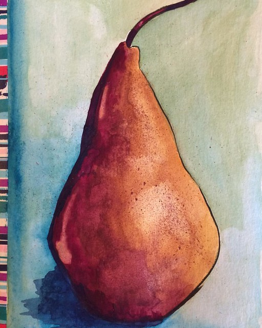 Bosc Pear #pears #boscpears #gouache #gouachesketch #watercolor #watercolors #watercolorsketch #painting #paintings #paintsketch #art