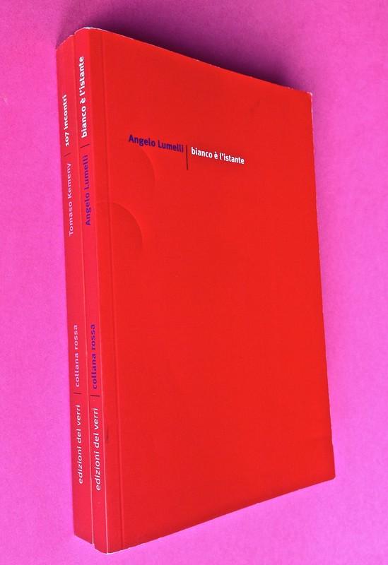 Edizioni del Verri / Collana rossa. Progetto grafico di Valerio Anceschi e Giovanni Anceschi. Due dorsi, una copertina (part.), 1