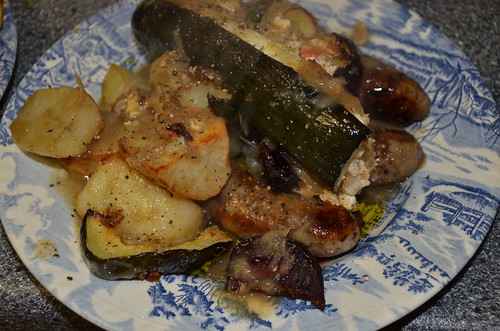 sausages and roast vegetables Oct 15
