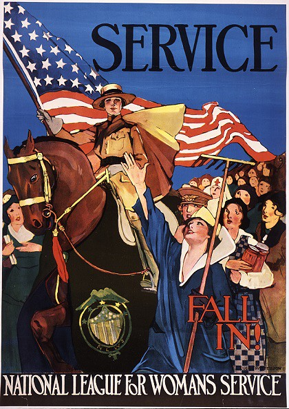 "Bright colors and patriotic themes were drawn into posters created to inspire and motivate Americans through the many sacrifices made in support of the ""War to End All Wars."""