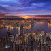 Sunrise over Victoria Harbor as viewed atop Victoria Peak by anekphoto