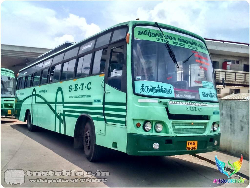 TN-01AN-0047  TNV 1 B 851 of Tirunelveli 1 Depot Route H 180 Tirunelveli - Chennai via Madurai.