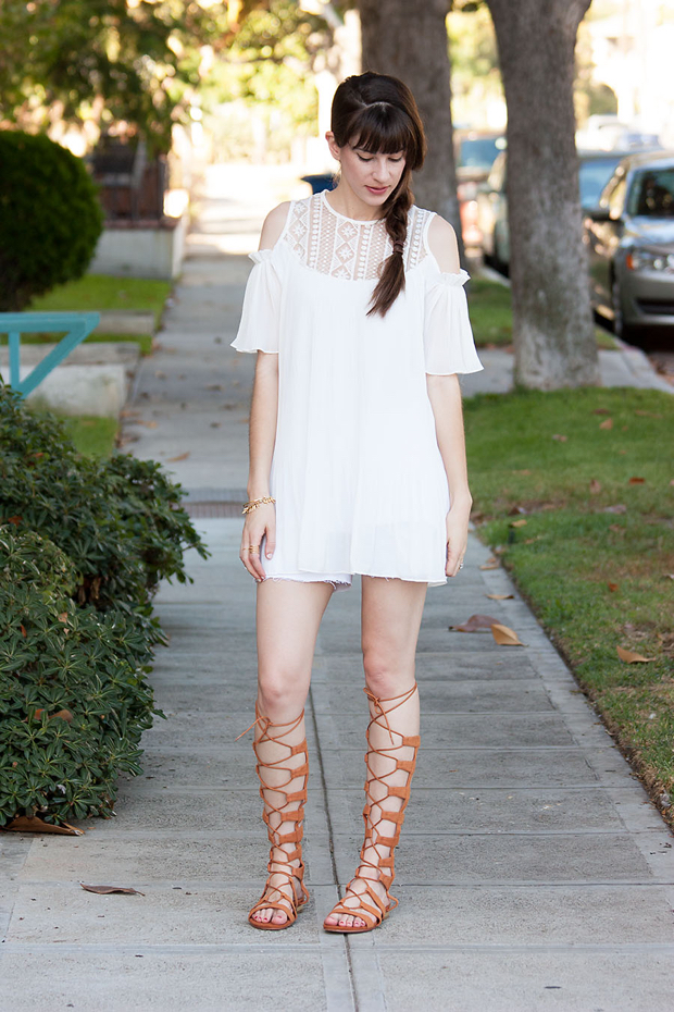 Lookbook Store Dress, White Swing Dress, Gladiator Shoes