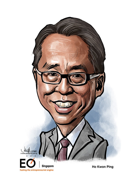 Ho Kwon Ping digital caricature for EO Singapore