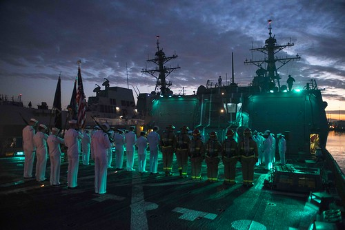 SAN DIEGO - Sailors aboard USS William P. Lawrence (DDG 110) participate in a 9/11 tribute.