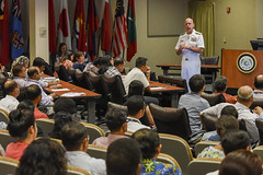 Adm. Scott Swift, commander of U.S. Pacific Fleet, speaks to more than 100 participants of the APCSS Advanced Security Cooperation course. (U.S. Navy/MC2 Brian Wilbur)