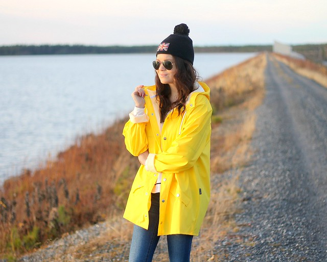Yellow raincoat outfit