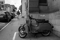 automobile, scooter, vehicle, mode of transport, snapshot, road, monochrome photography, monochrome, black-and-white, street, black, infrastructure,