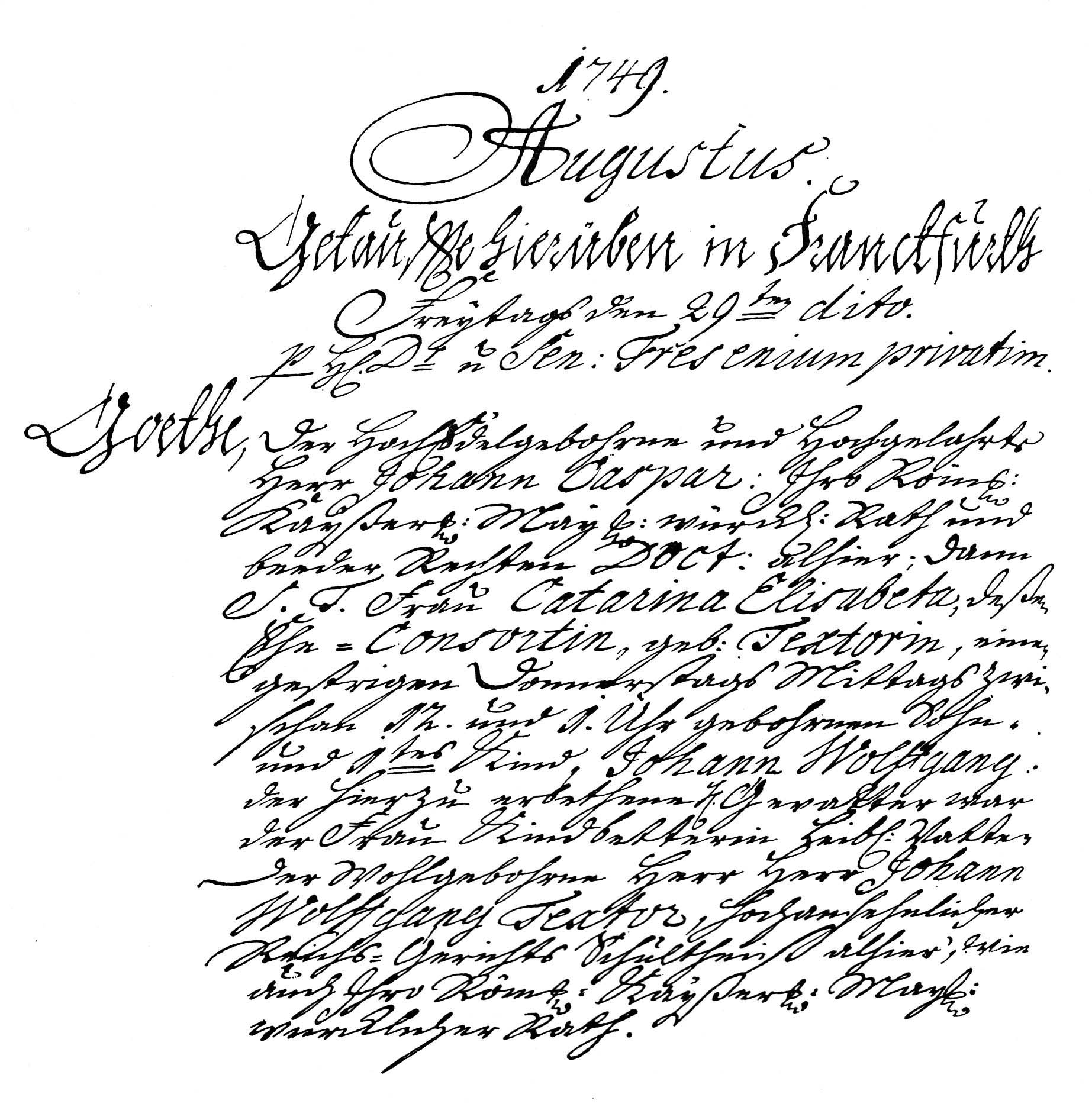 Goethes Geburts- und Taufeintrag, Frankfurt am Main 1749