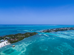 Aerial view of the Split in Caye Caulker, Belize